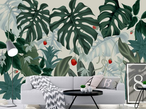 Oil Painting Tropical Plants Palm Leaves Wallpaper Wall Mural