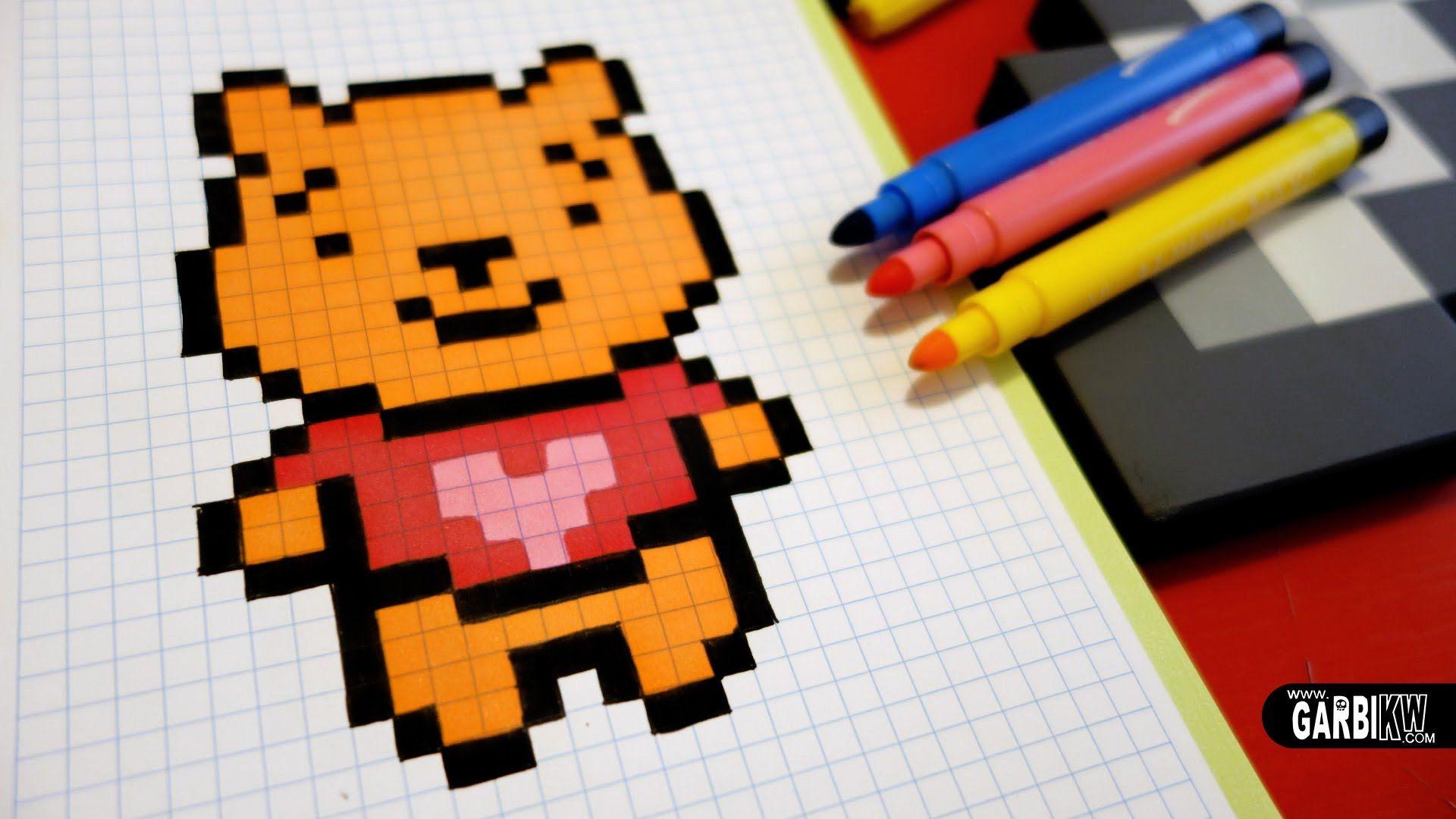 Handmade Pixel Art How To Draw Winnie The Pooh Pixelart Avec