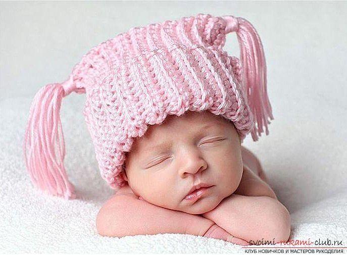 как связать эксклюзивную шапочку для ребенка спицами описание