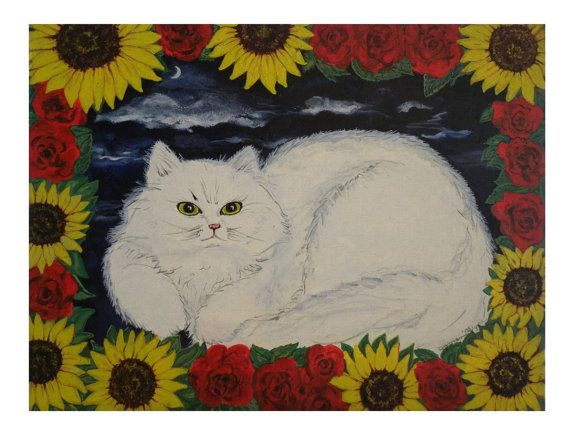 Crystal the Cat Folk Art Print Persian White by FieldsOfVintage