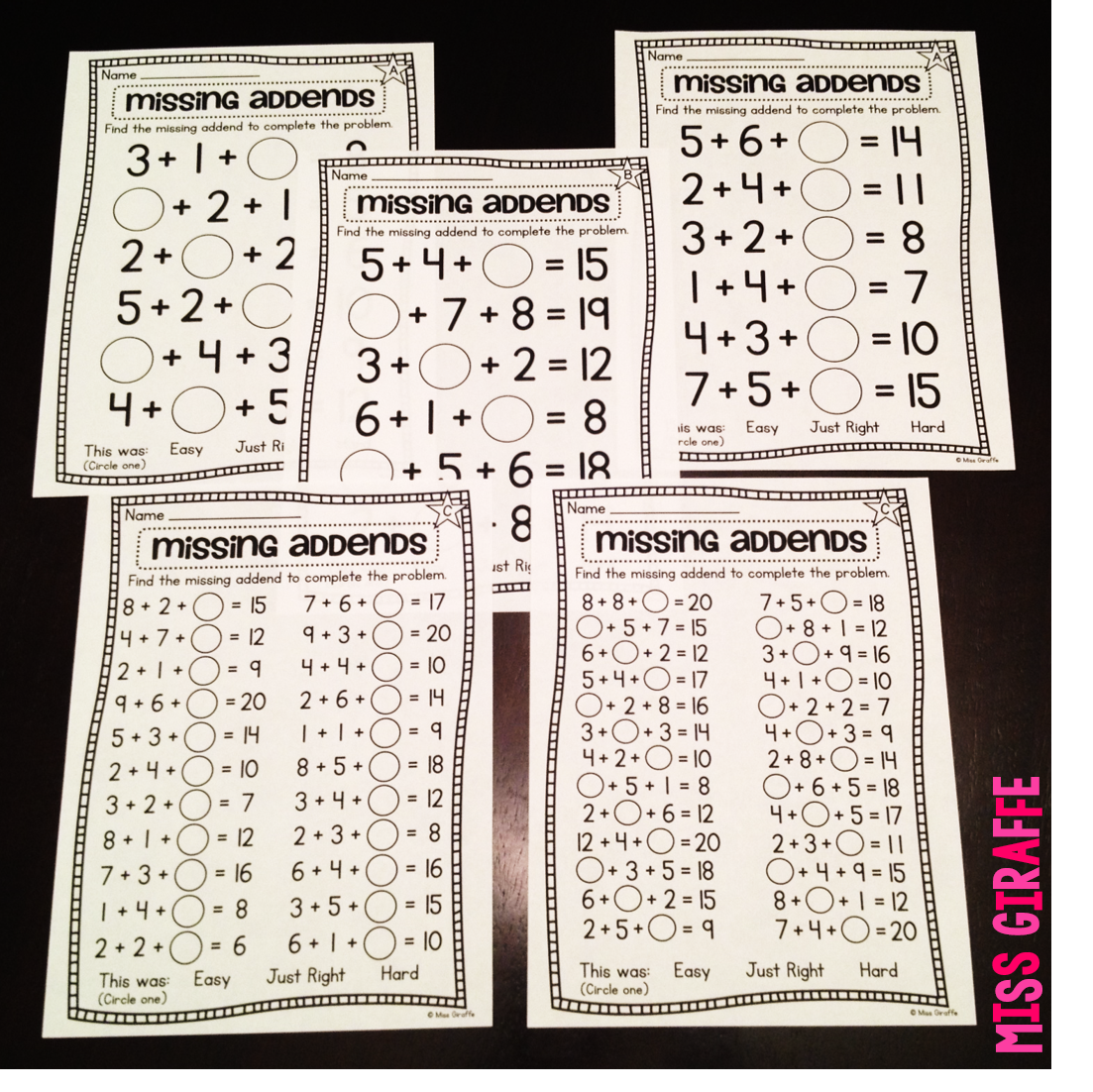 Missing Addends With 3 Numbers To Practice Finding The