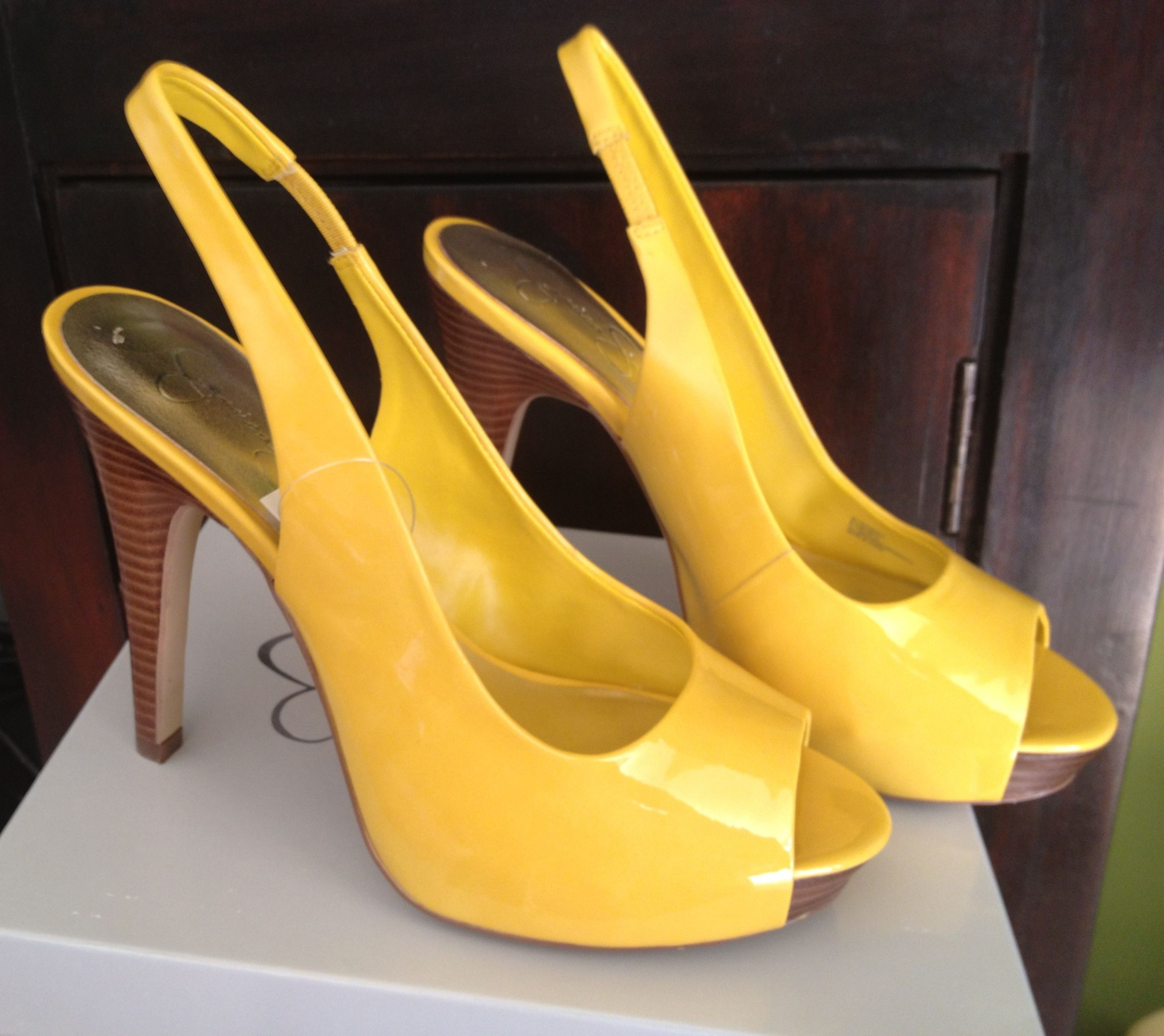 Yellow Peep Toe Heels