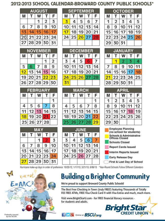 Broward County Florida Public School Calendar 2012 2013 With