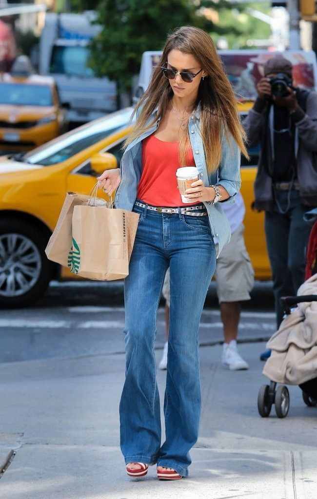 210fd7ae0cc38 Bell Bottoms + Bright Top | This is how I rock it | Jessica alba ...