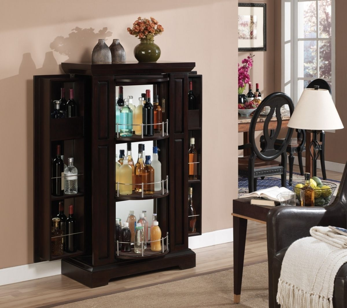 Modern Liquor Cabinet With Expandable Rack Door For Living