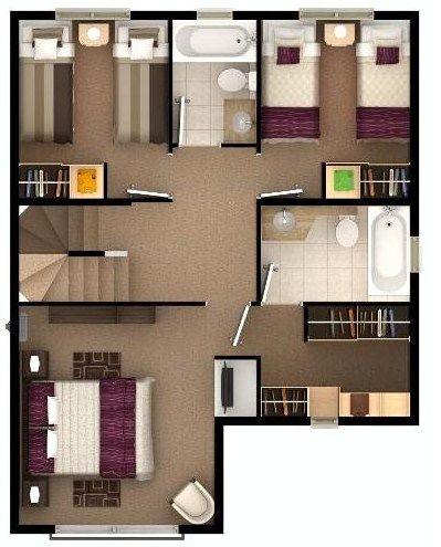 Plano De Casa Bonita De 3 Pisos Con Sala De Juegos Plano Casa 2 Pisos Planos De Casas Grandes Planos De Casa De Dos Pisos
