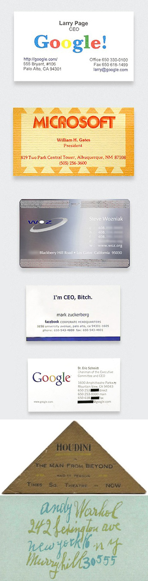 The Business Card Designs Of Seven Famous People | Business Cards ...