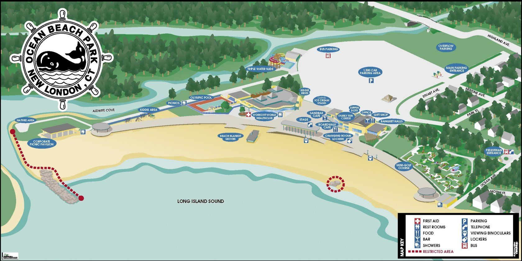 ocean beach park, new london ct map | Ocean beach, New ...