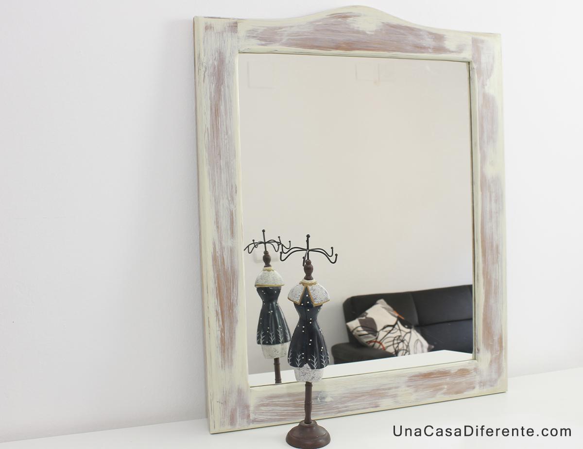 Pintar marco madera espejo blanco envejecido actualizar for Espejos con marco de madera blanco