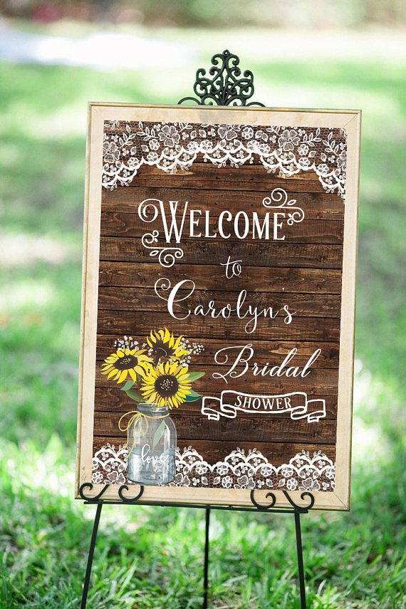 Sunflower Bridal Shower Sign Wedding Welcome Printable Banner