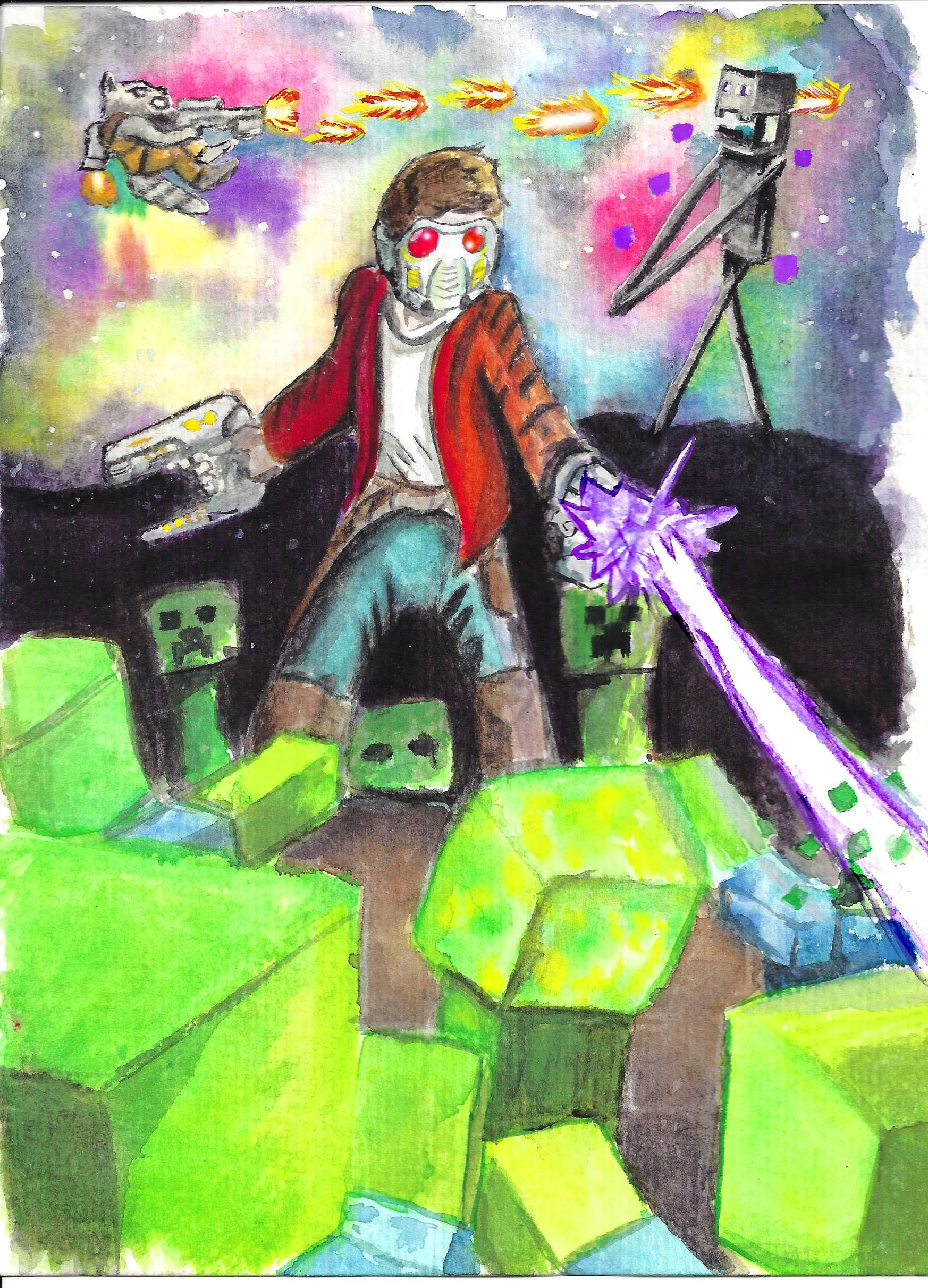 Guardians Vs Minecraft Watercolor On 5x8 Art Art Watercolor Draw