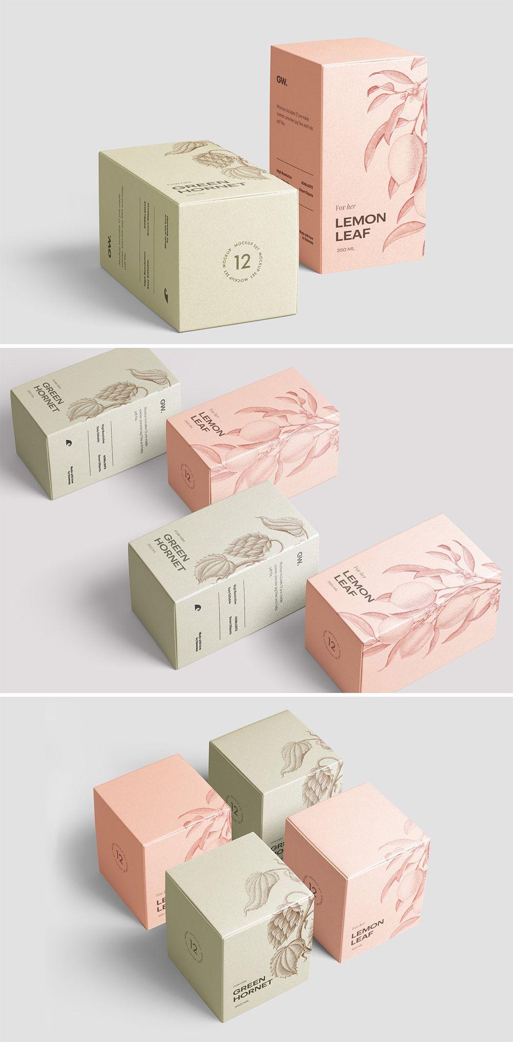 Download Box Mockup Vol 3 Creative Packaging Design Cosmetic Packaging Design Box Packaging Design