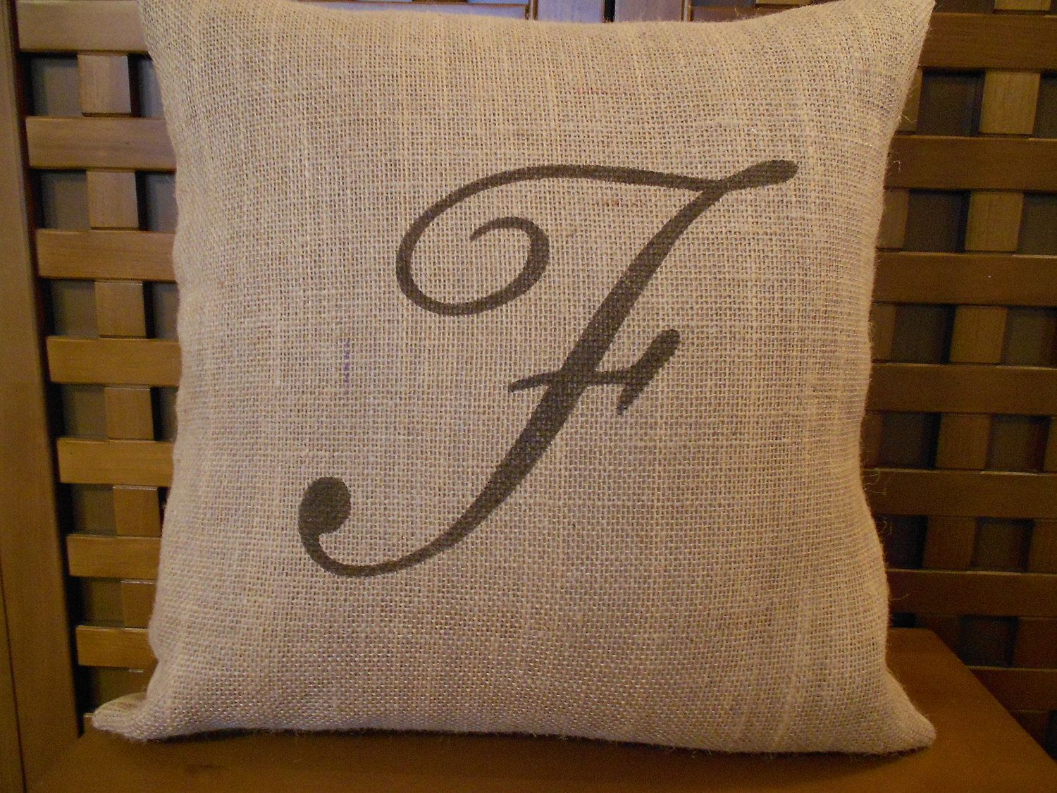 "Initial Pillow Covers Monogram Burlap Pillow Cover  Initial  Personalized  16""  Home"
