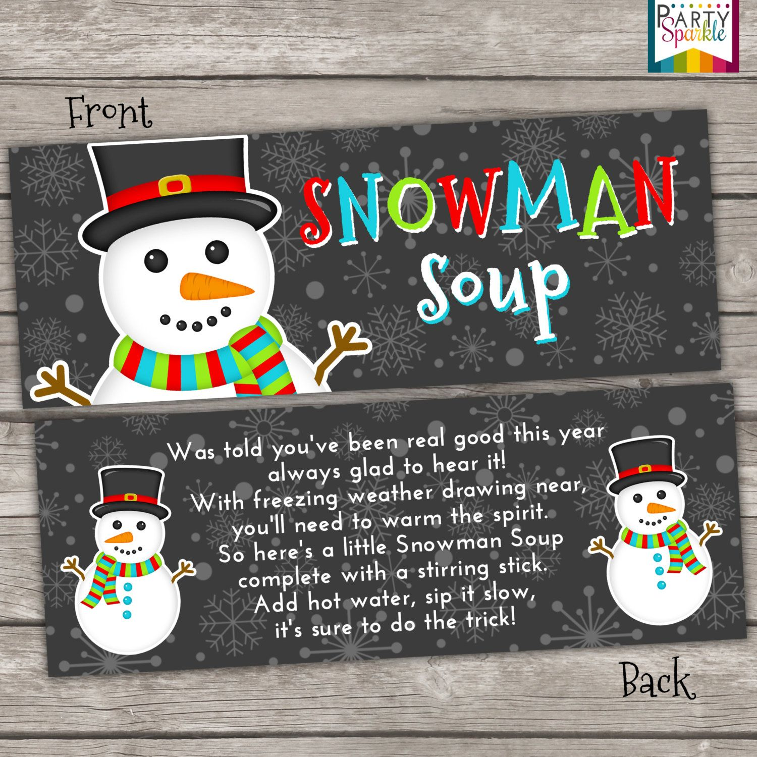 picture about Snowman Soup Free Printable Bag Toppers named Immediate Down load Snowman Soup Deal with Bag Toppers by means of