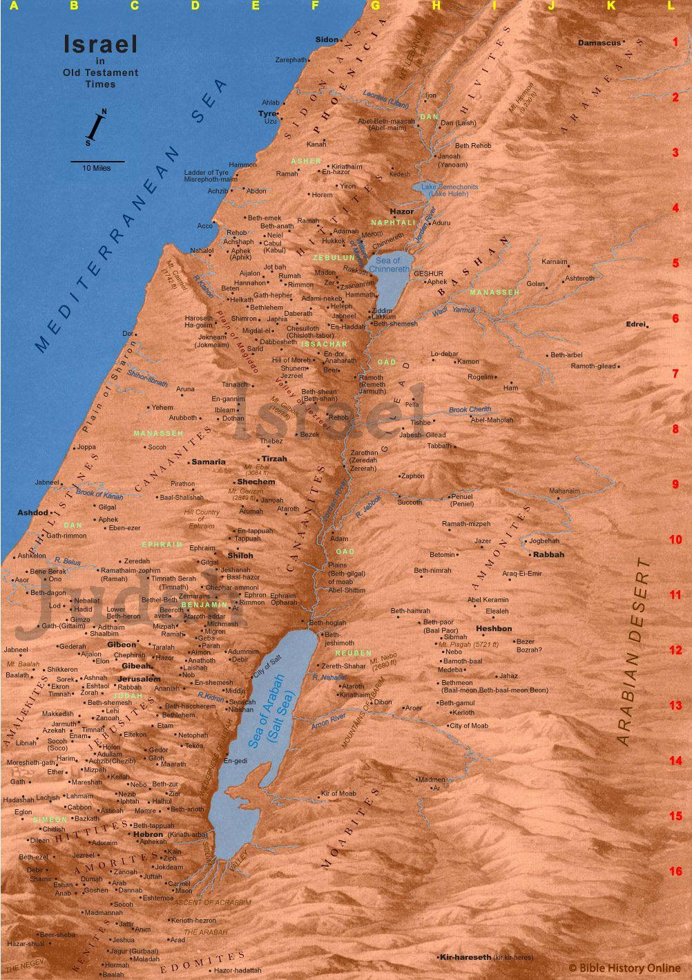 Beth Shemesh Bible Maps: Map Of Old Testament Israel