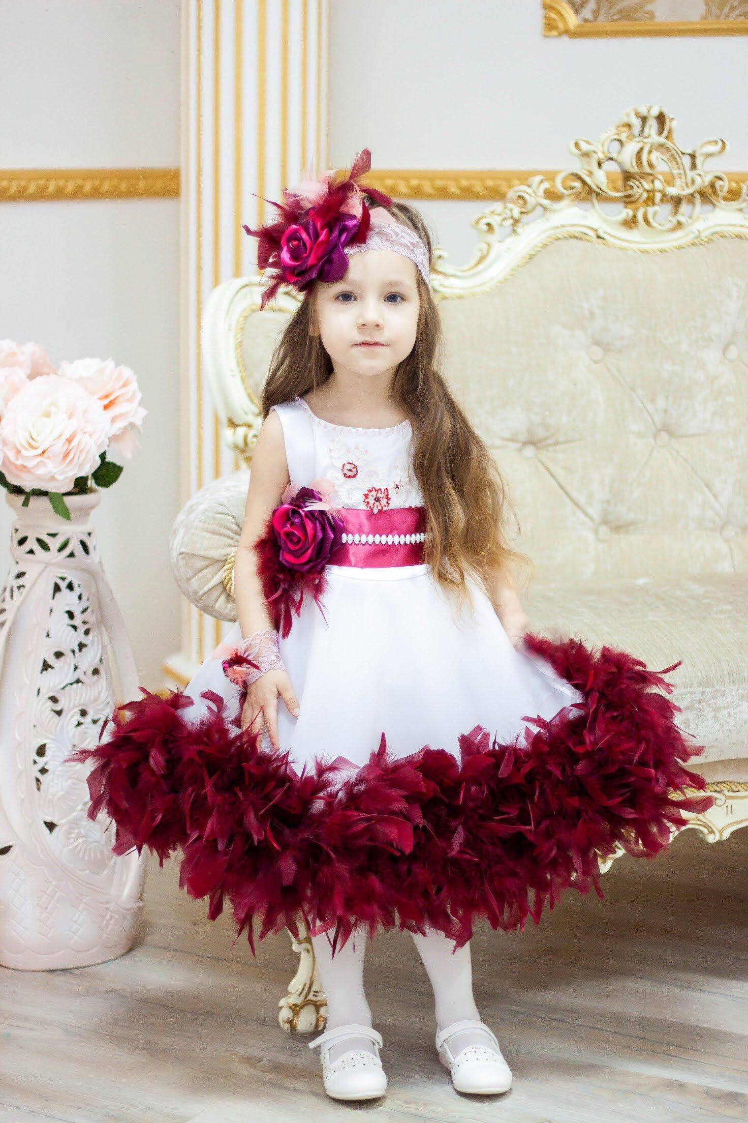 White burgundy Pageant dress with feathers and flower OOK Fun