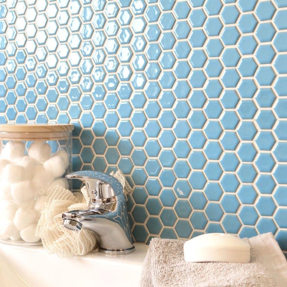 Gloss Sky Blue Hexagonal Tiles Toto Hexagon Mosaic Tiles 335x292x4mm ...
