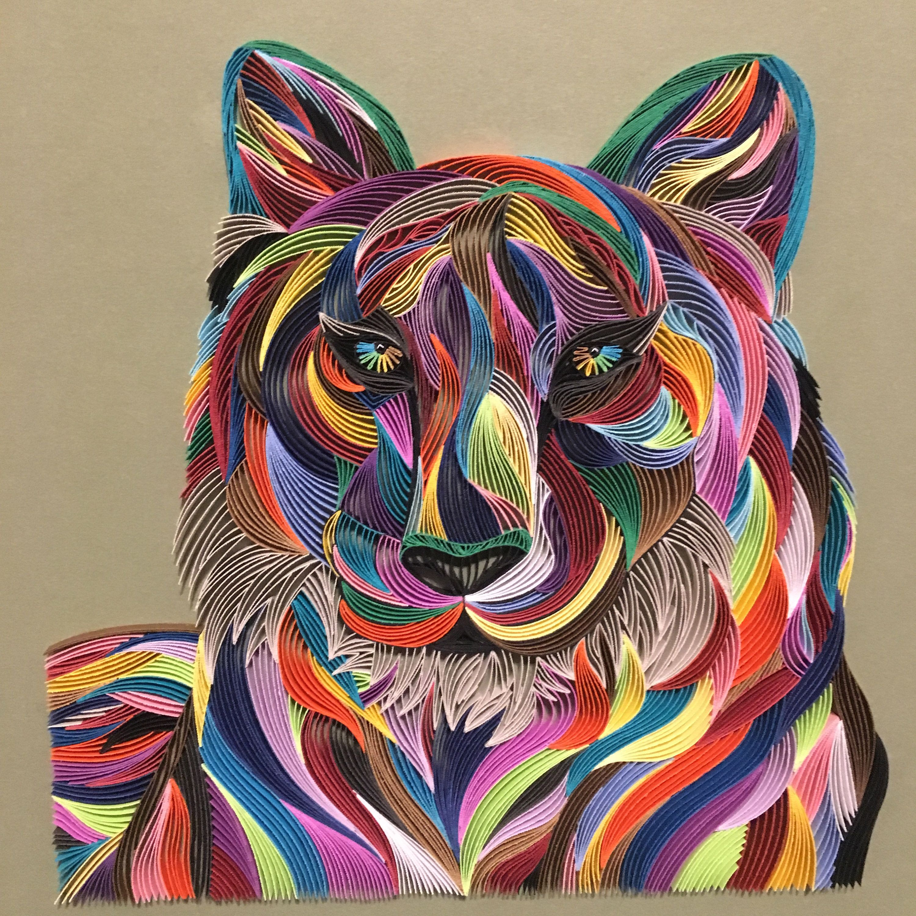 Abstract tiger quilling wall art the art of painting with