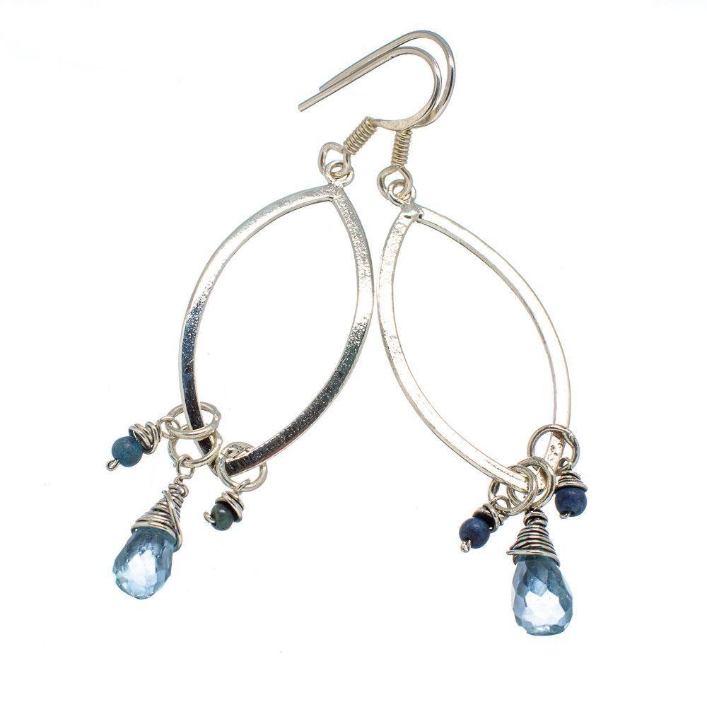 """Blue Topaz, Tibetan Turquoise 925 Sterling Silver Earrings 2 1/2"""" EARR333521"""