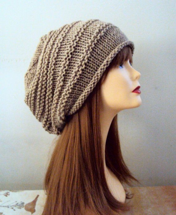 Super SLOUCHY KNIT HAT Beanie Unisex Baggy Hat Chunky Taupe Celebrity Hat  Brown Rasta Hat Women's