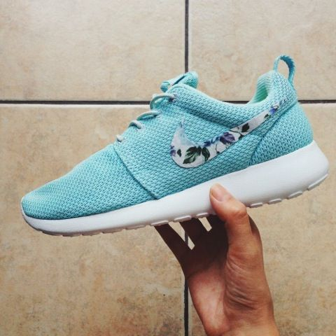 Baby blue. Nike tennis shoes. Floral.