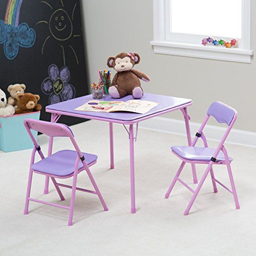 Showtime 3 Piece Childrens Folding Table And Chair Set Pink For