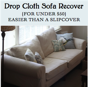 Diy Drop Cloth Sofa Recovering For Under 50 Even Better Than A Slipcover No Sewing Required