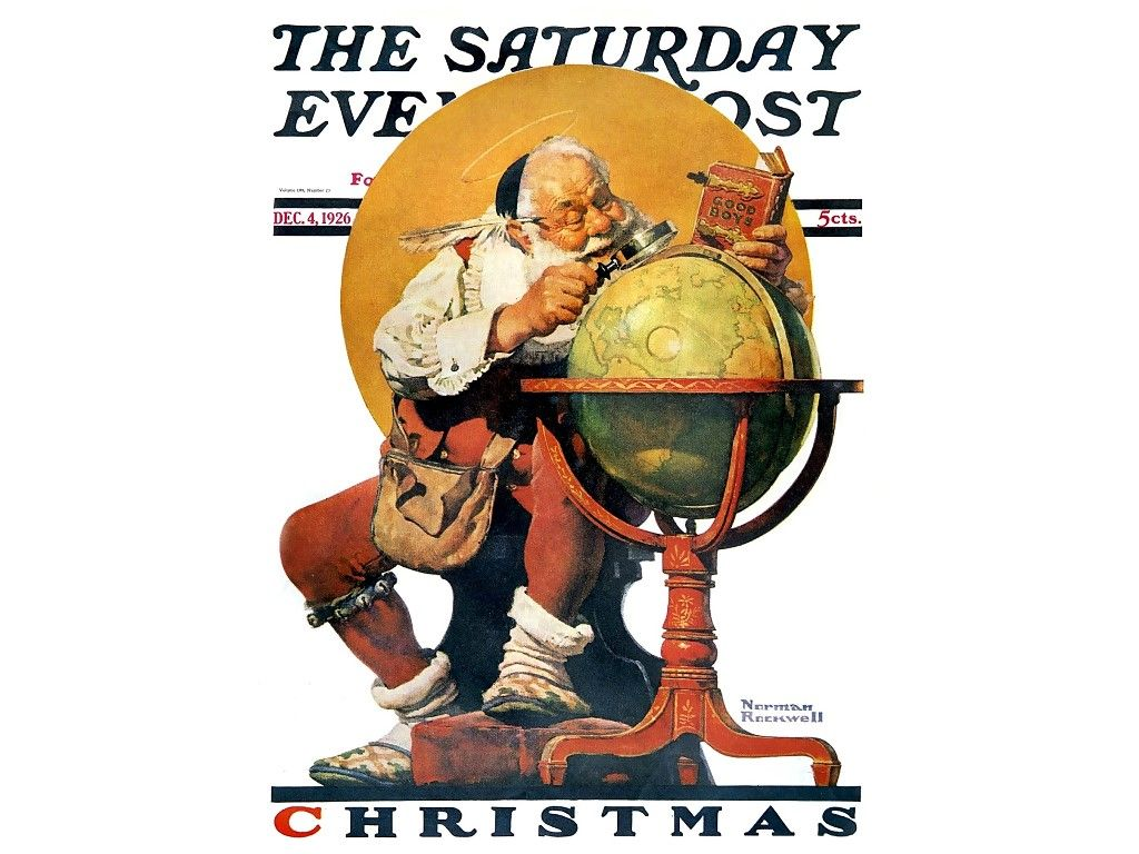 My Free Wallpapers - Artistic Wallpaper : Norman Rockwell - Santa ...