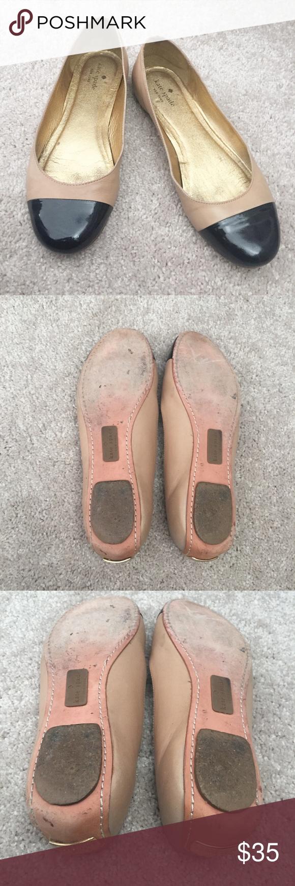 1d558e530a581 kate spade Black Cap Toe Leather Flats Size 8.5 Great condition black  patent cap toe flats