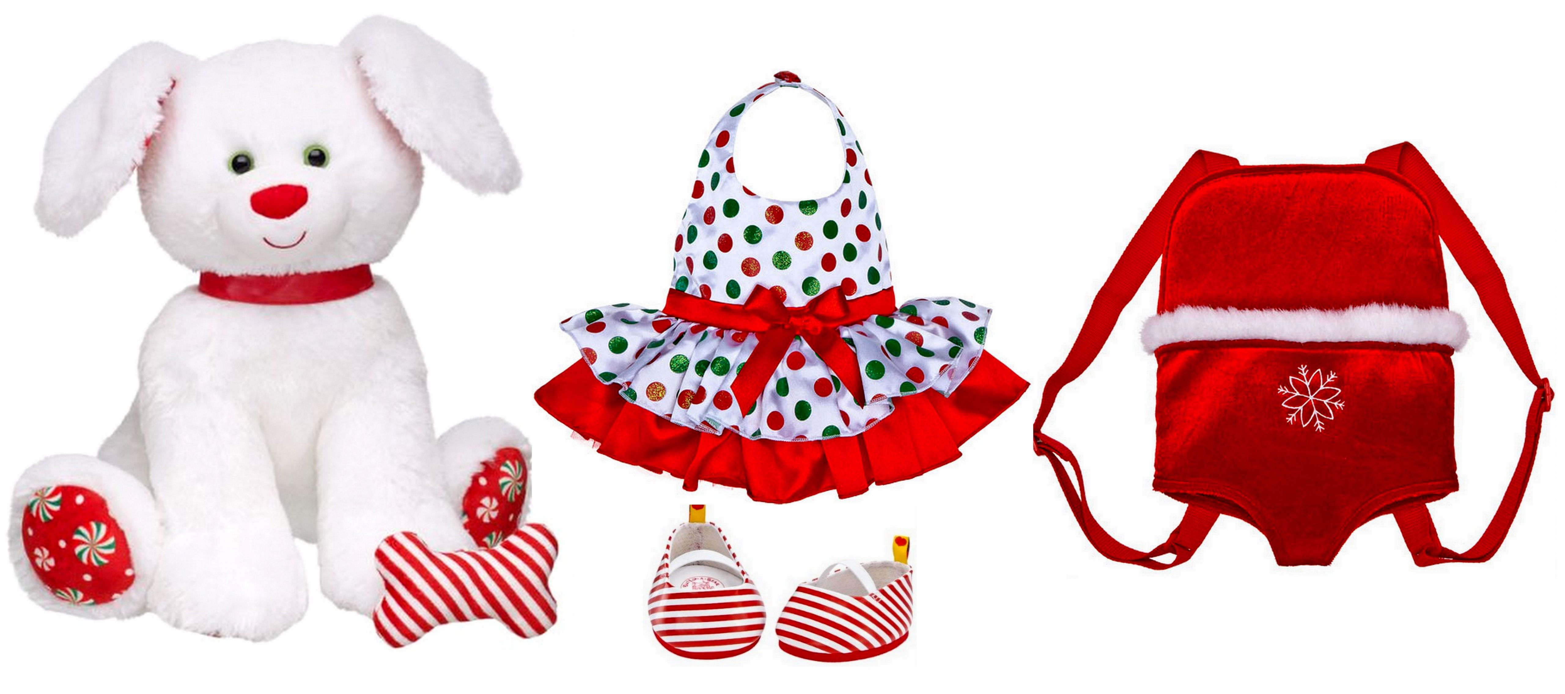 NEW Build a Bear Merry Mint Peppermint Pup Puppy Dog with Polka Dot Holiday Dress Outfit Striped Flats and Red Velvet Carrier Backpack Lot Absolutely Adorable Fantastic Gift Idea In Stock Now at http://www.bonanza.com/listings/New-Build-a-Bear-Merry-Peppermint-Pup-Holiday-Puppy-Dog-with-Outfit-Carrier-Lot/165598561