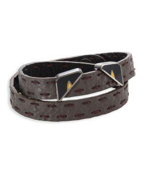 3bd780174d5 FENDI Monster Eyes Leather Wrap Around Bracelet.  fendi