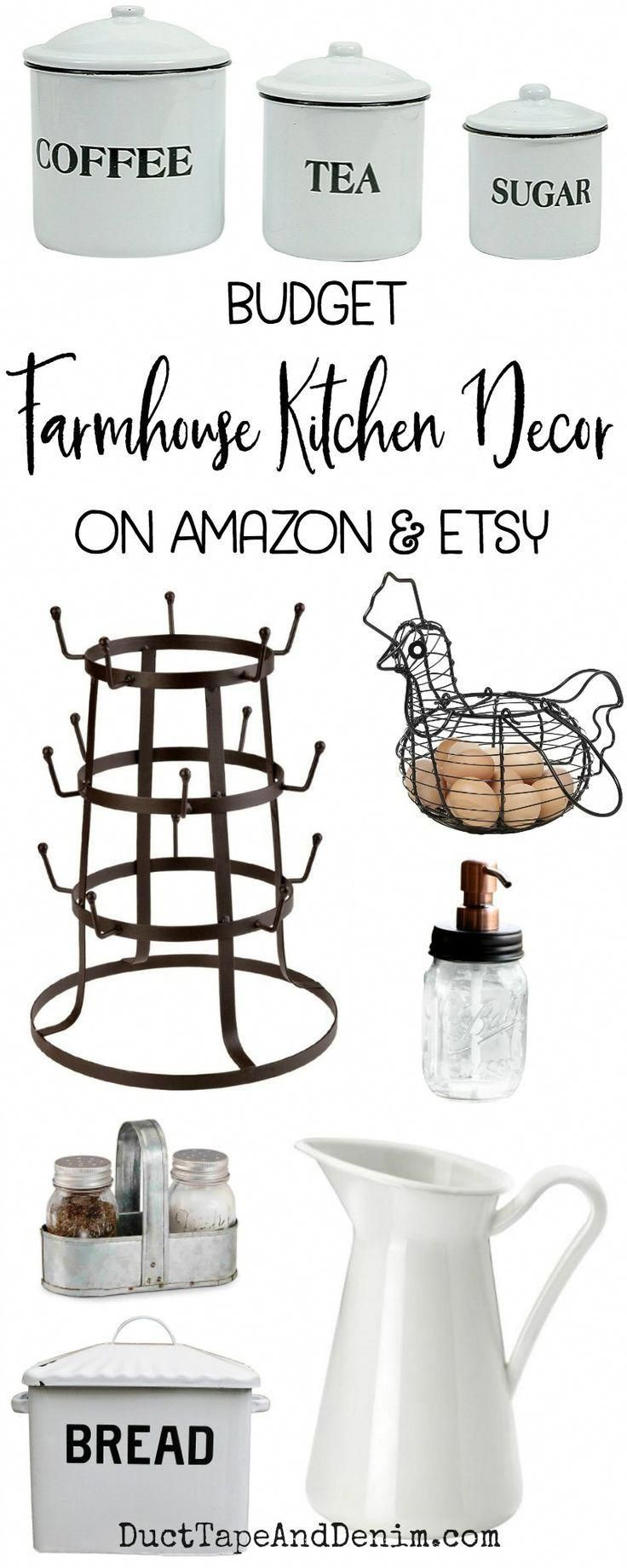 Farmhouse Kitchen Decor on a Budget from Amazon & Etsy #farmhousekitchendecor