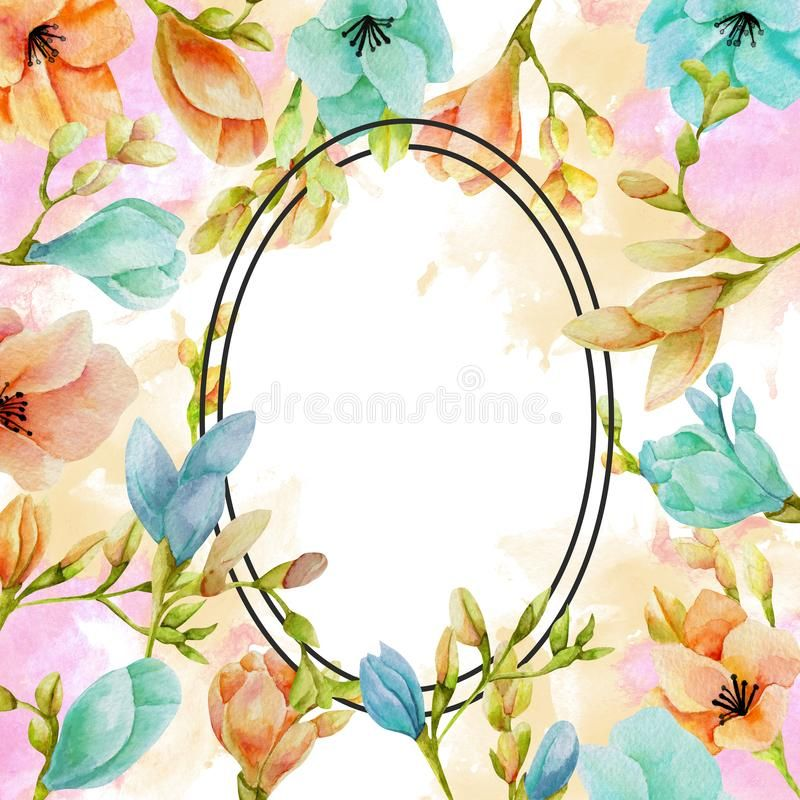 Watercolor Blue And Peach Freesia Flowers Frame Hand Drawn On A White Backgroun Aff Freesia Flowers Frame Wate Freesia Flowers Flower Frame Flowers