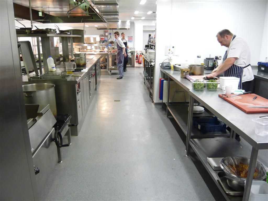 commercial and decorative resin floors commercial kitchen flooring Decora in applied in a commercial kitchen Resin floors commercial flooring Decorative floors