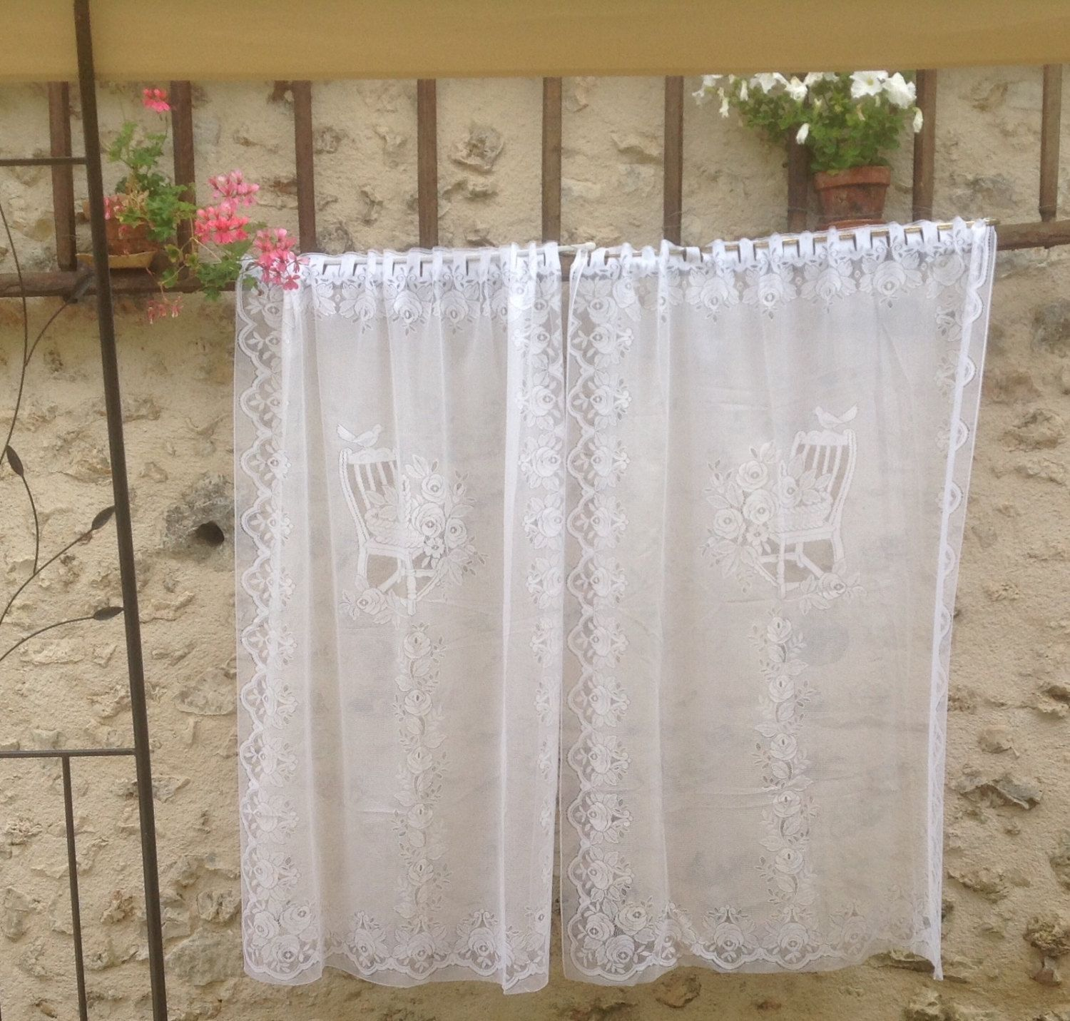 FREE SHIPPING..Two Identical, French, Panel, Country Curtains. White Machine