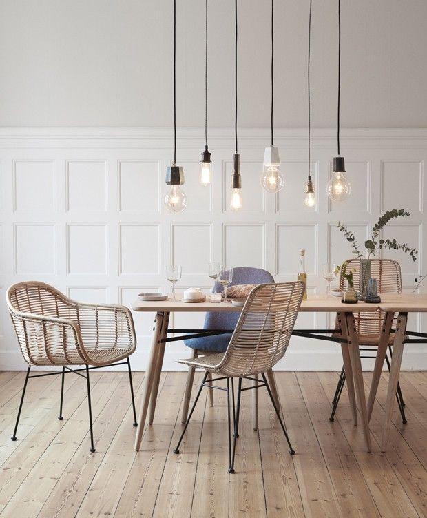 Décor do dia: sala de jantar escandinava com cadeira de vime