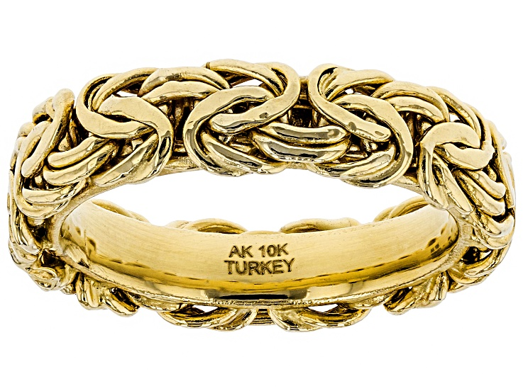 10k Yellow Gold Hollow Byzantine Link Band Ring Cng753y In 2020 Band Rings Rings Types Of Rings