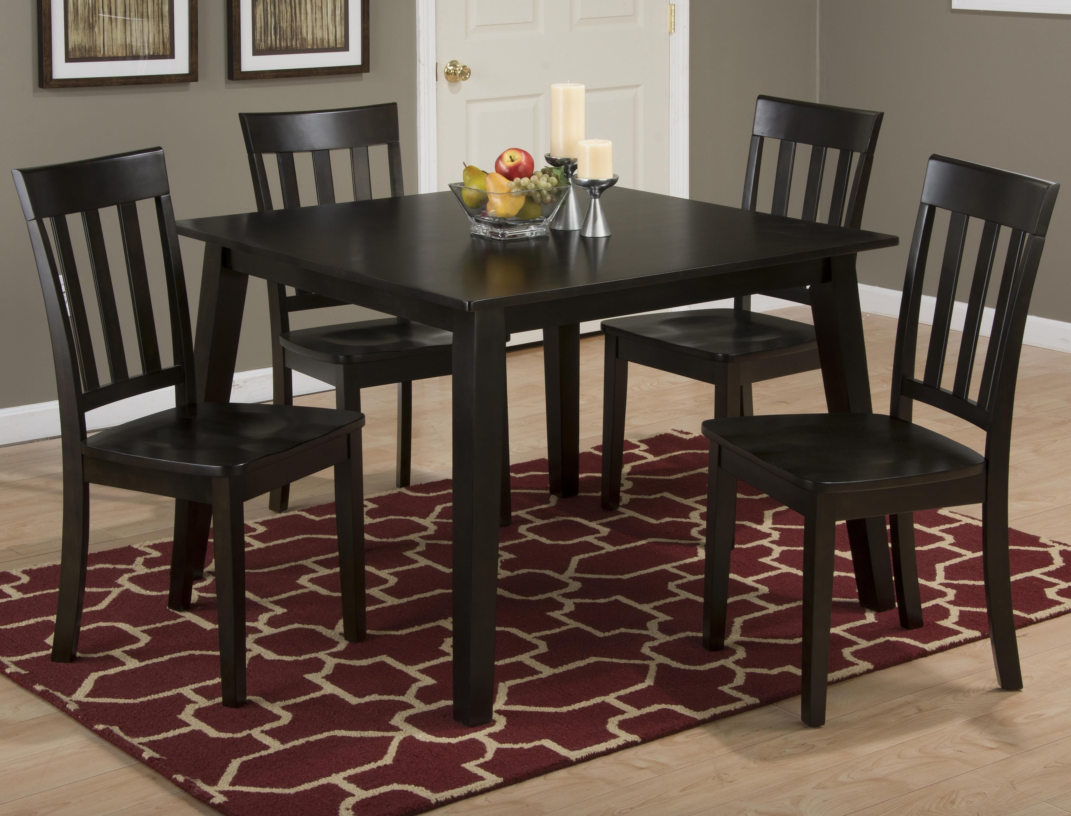 3x3x3 Espresso Square Table And 4 Chair Set By Jofran Square