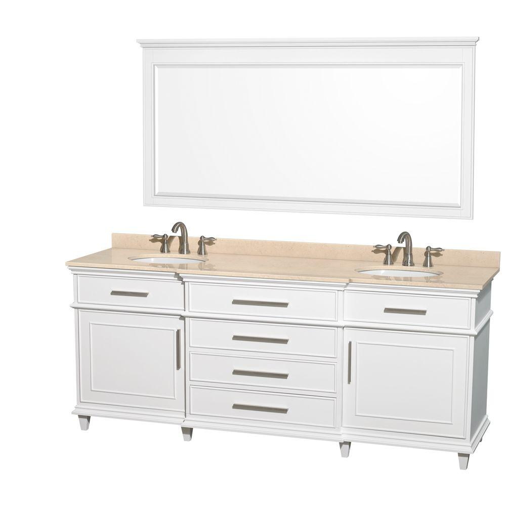 Wyndham Collection Berkeley 80 In Double Vanity In White With