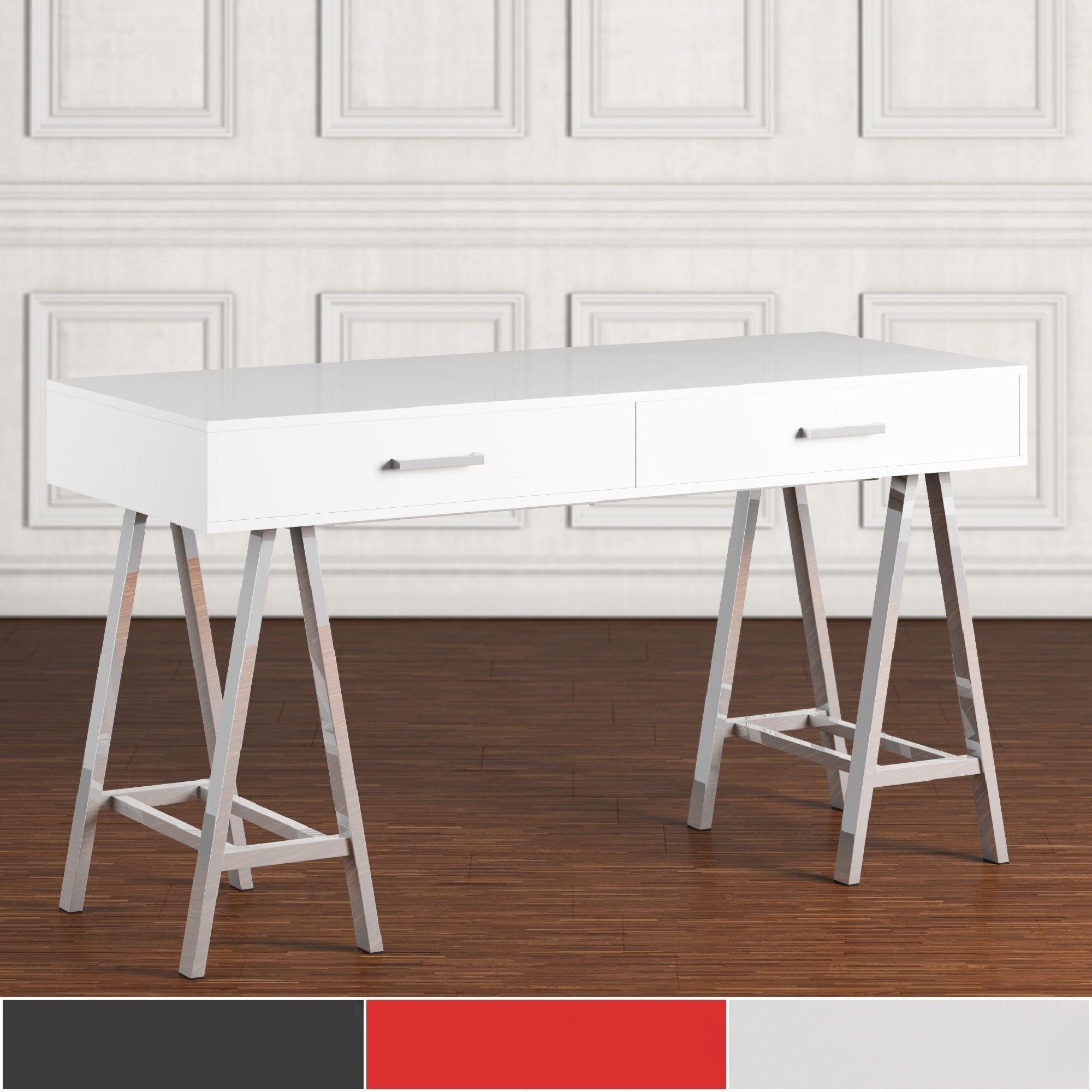Neron 2-Drawer Chrome Leg Sawhorse Desk by Inspire Q (White), Silver