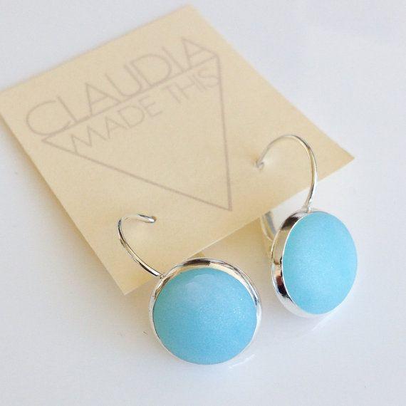 Ice blue lever back earrings light blue by ClaudiaMadeThis on Etsy