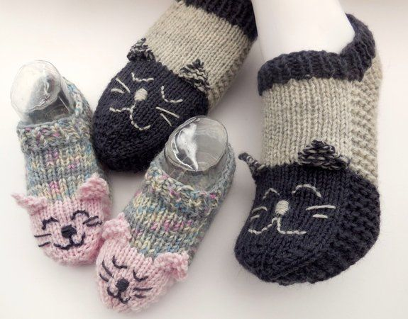 Photo of Spar-Set Katzensocken – Hausschuhe – Kinder und Erwachsene – Universalgröße – Strickanleitung