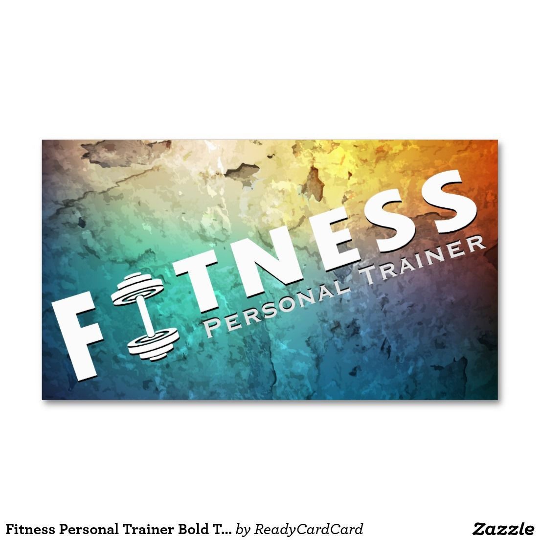 Fitness Personal Trainer Bold Text Dumbbell Logo Business Card ...