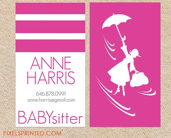 Cute Babysitter Business Cards Ninera Tarjetas Tarjetas De Visita
