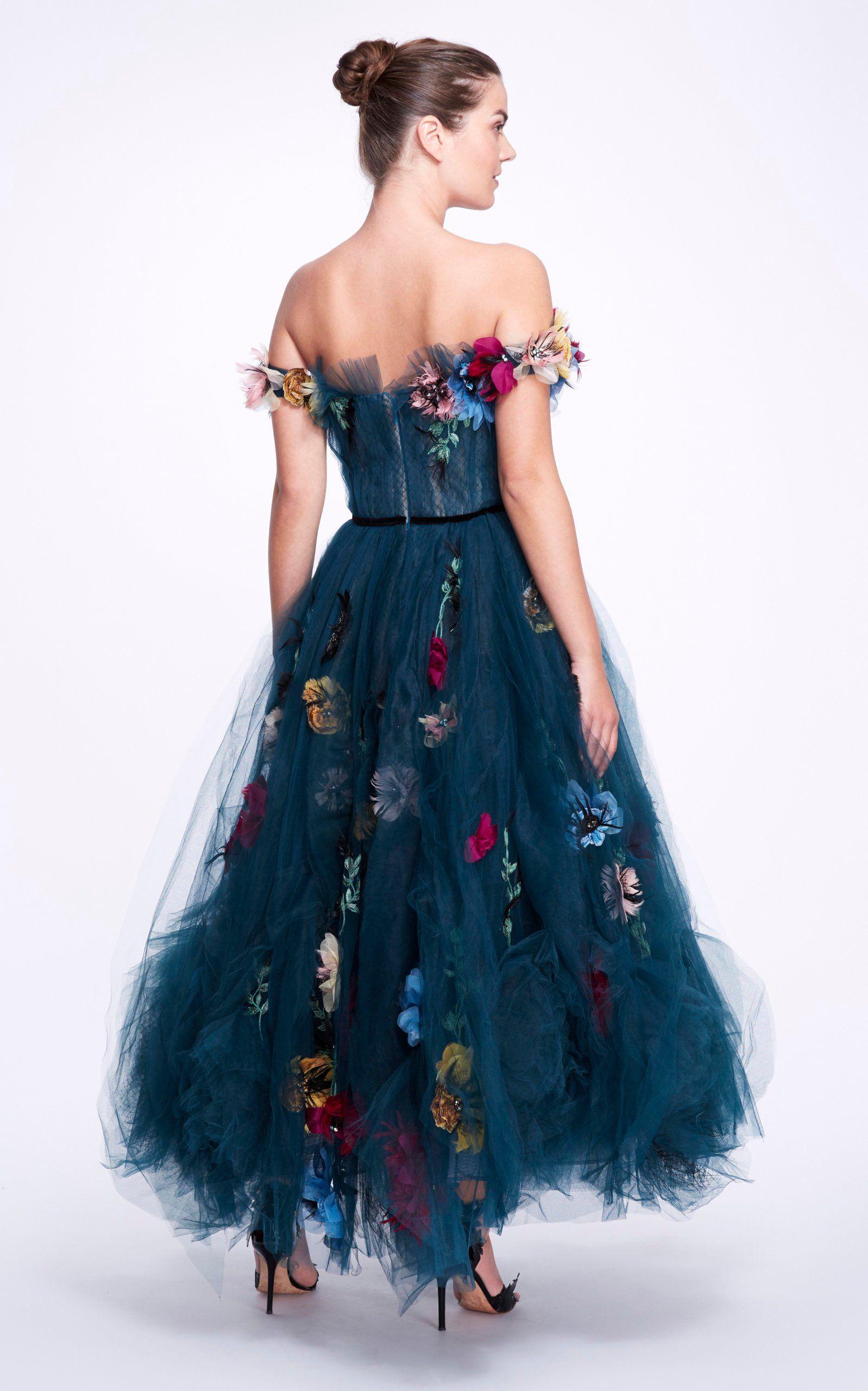 Vestido de tul con bordado floral  – Moda