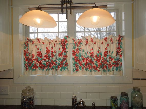1940s Vintage Cafe Curtains Red Roses And Aqua By InVentageForYou