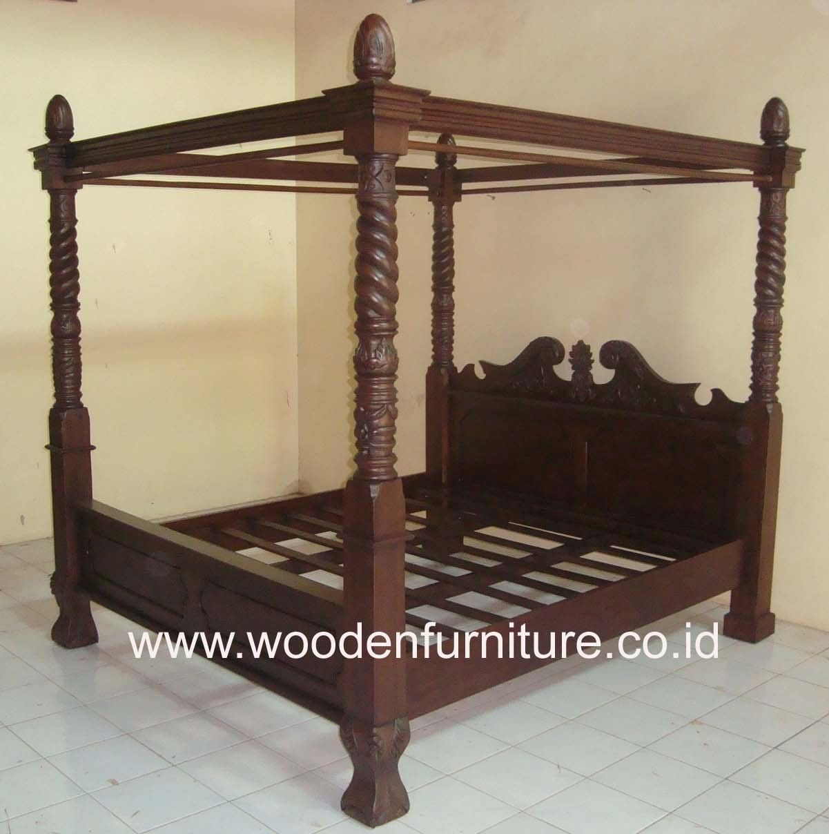 - Teak Canopy Bed Solid Wood Four Posters Bed Antique Reproduction
