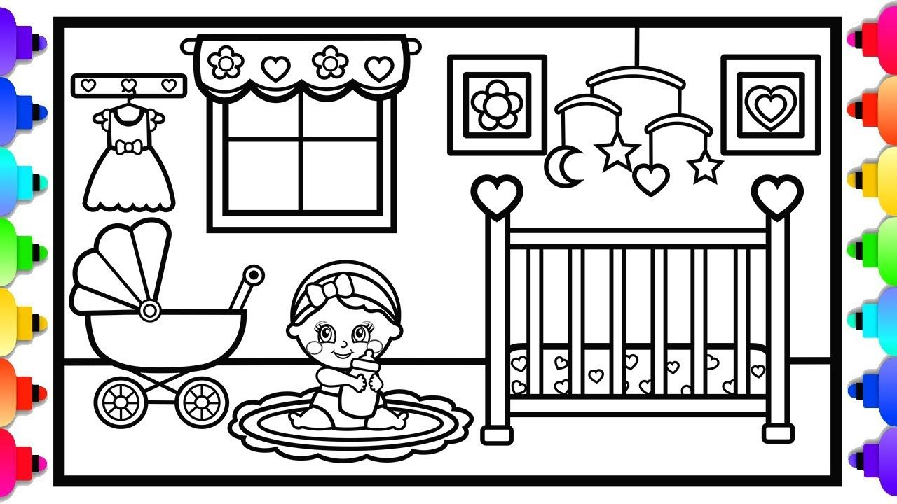How To Draw A Baby S Room Baby Nursery Coloring Page