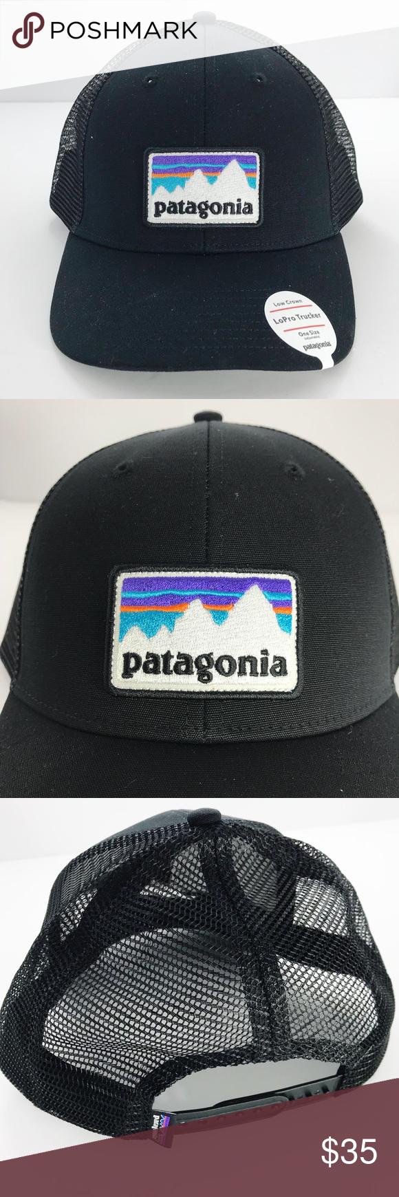 2aecfabd01d Patagonia LoPro Trucker Hat Patagonia Shop Sticker Patch LoPro Trucker Hat  in Black. Low crown