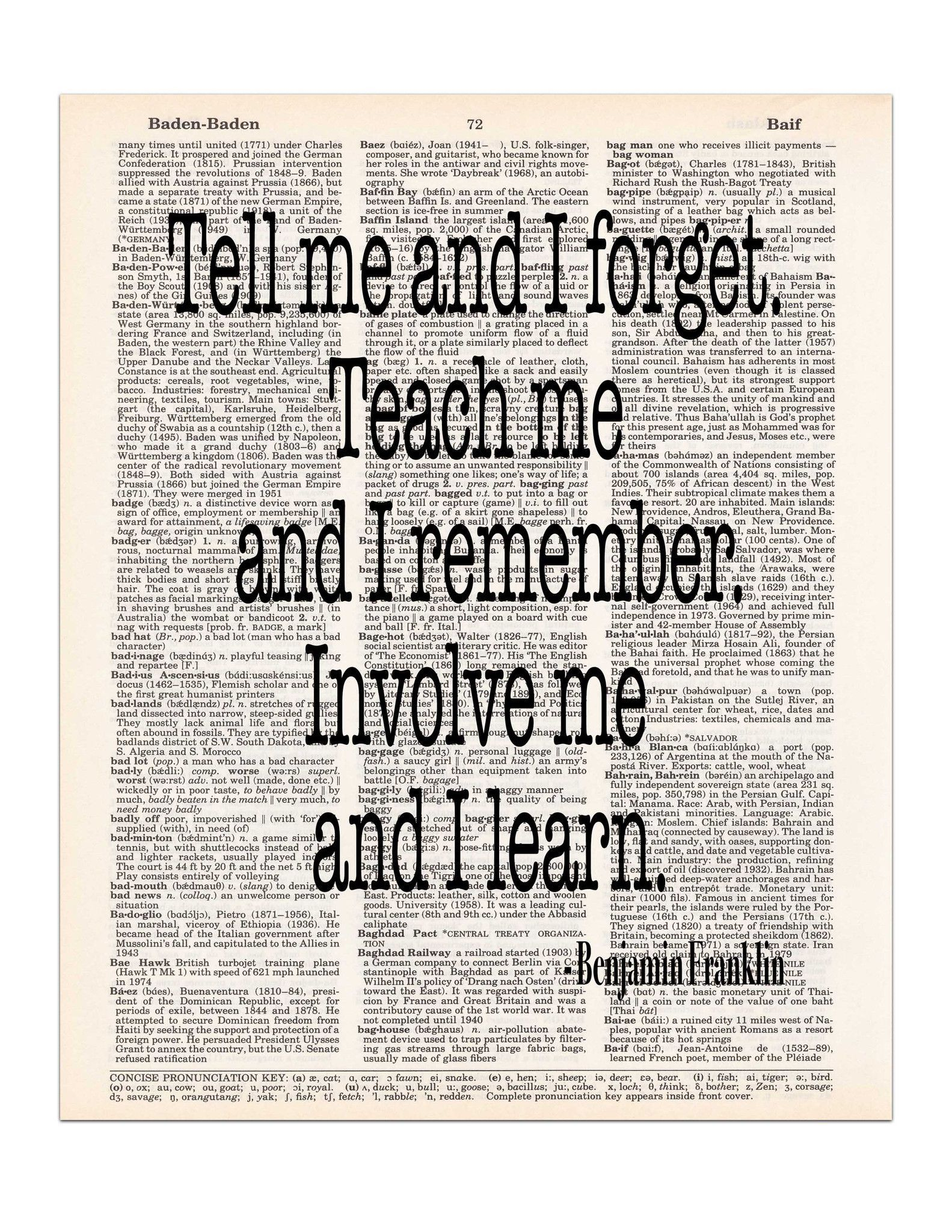 Tell Me And I Forget Benjamin Franklin Quote Dictionary